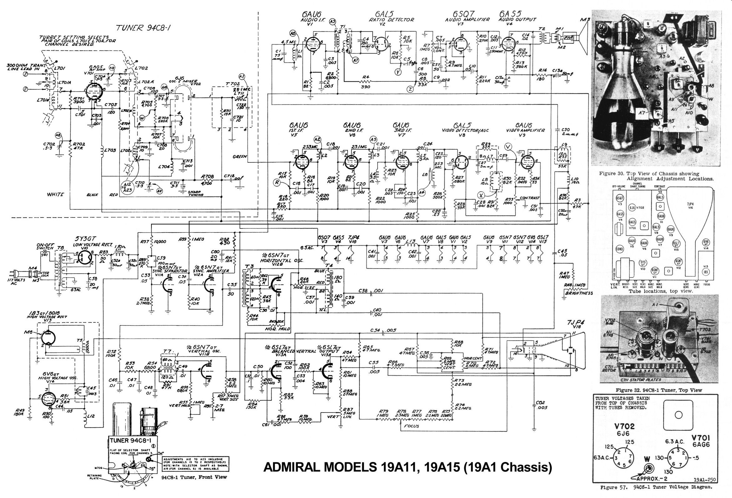 Admiral Model 19a12 Tabletop Television 1948 Wiring Diagram